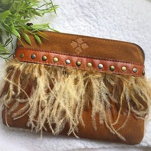 Patricia Nash suede leather feather trim wristlet